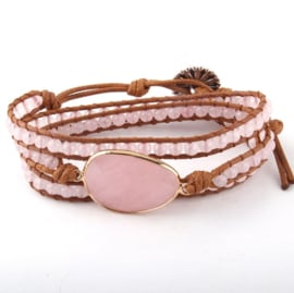 Roze kwarts armband