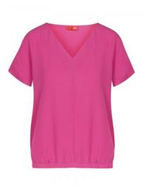 T-shirt met elastische onderkant roos