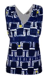 Maliparmi blauwe blouse met een geometrisch patroon