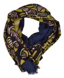 Maliparmi patchwork patroon sjaal donkerblauw