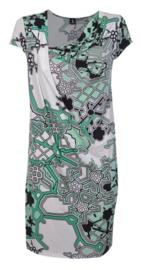 1-One gedrapeerde jurk met print