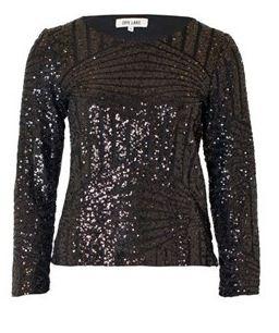 Zwarte blouse met pailletten Dry Lake