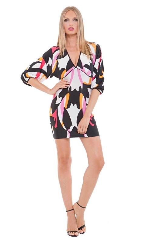 Analili print jurk met V - hals