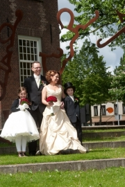 Huwelijk Carolien, Dion en de kids.