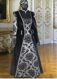 Renaissance jurk zwart/zilver 5
