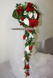 Zijden bruidsboeket 1008 calla's en rozen