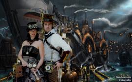 Bruidsjurk Steampunk-Gothic BW64 zwart/goud-bruin
