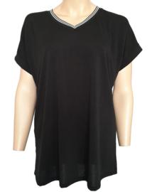 T-shirt met V-hals, zwart