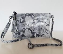Lederen tasje - clutch in zwart-wit-grijze slangenprint
