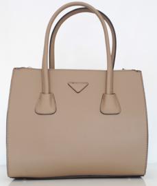Camel kleurige tas met drie aparte ritsvakken