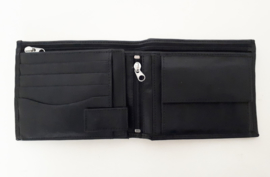 Lederen portemonnee met veel ruimtes én een ritsvak over de volle breedte