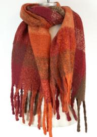 Dikke sjaal in warme kleuren