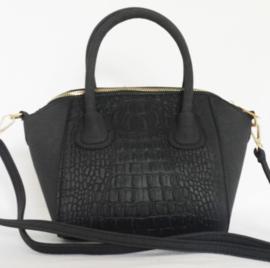 Klein zwart tasje met krokodillen print
