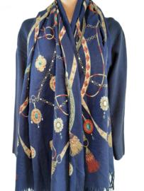 Blauwe sjaal met mooie print