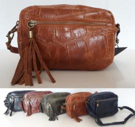 Echt lederen schoudertasje met kroko-print in verschillende kleuren