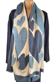 Blauw-witte sjaal met hartjes