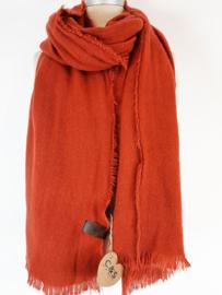 Effen sjaal rood-bruin (brique)