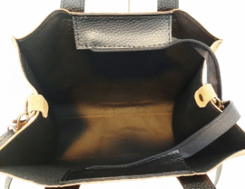 Echt lederen tas met croco print en suede, zwart