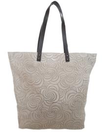 Lederen shopper, grijs met een ingestanst patroon