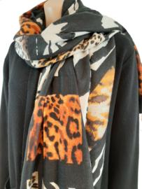 Zwart-witte sjaal met oranje-bruin