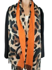 Sjaal met panterprint en oranje bies