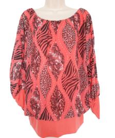 Koraal blouse met print, elastische band aan de onderzijde