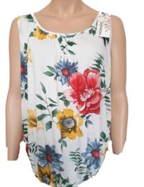Mouwloze top / hemd wit met bloemen