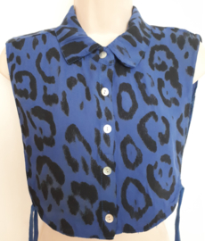 Blauwe kraag met panterprint