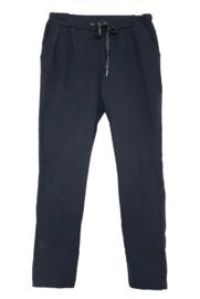 Donkerblauwe stretch broek met koord