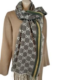 Donkerbruine sjaal met print en groen met gele bies