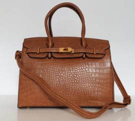 Cognacbruine tas met kroko-print