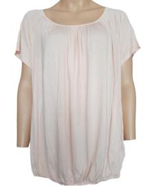 T-shirt met elastische band aan de onderzijde, roze
