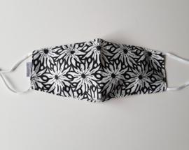 Katoenen mondkapje, voorgevormd, zwart-wit print