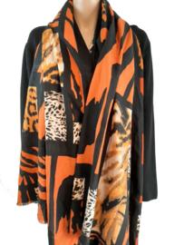 Sjaal met zwart-oranje print