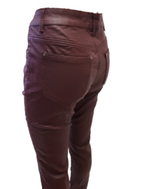Leatherlook broek met stretch, bordeauxrood