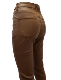 Leatherlook broek met stretch, cognacbruin
