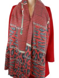 Rode sjaal met print