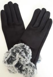 Zwarte handschoenen met grijs (nep)bont