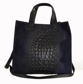 Echt lederen tas met croco print en suede, donkerblauw