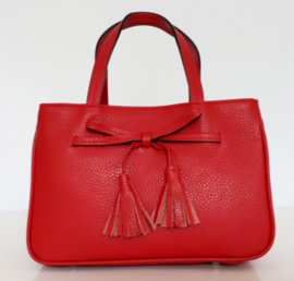 Elegant rood lederen tasje met verstelbare schouderband
