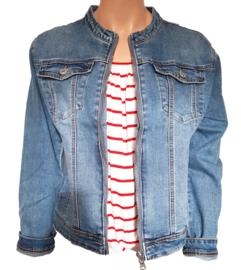 Jeans jasje met ronde hals en ritssluiting