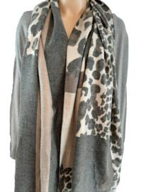 Grijs-taupe sjaal met print