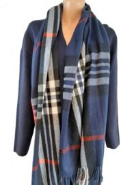 Blauwe sjaal met ruitmotief