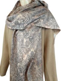 Camel sjaal met mooie print