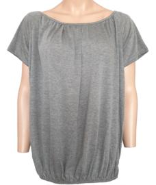T-shirt met elastische band aan de onderzijde, grijs