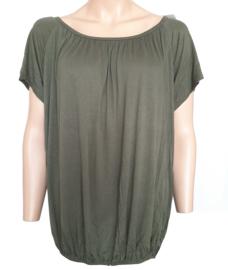 T-shirt met elastische band aan de onderzijde, legergroen