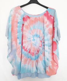 Tie Dye blouse pastelblauw met fuchsia en perzik