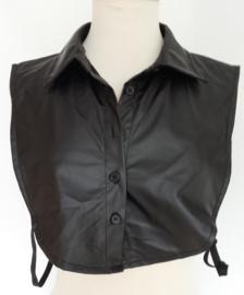 Zwarte leatherlook kraag