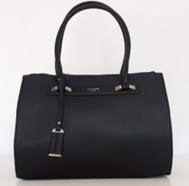 Zwarte tas met drie ritsvakken