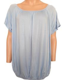 T-shirt met elastische band aan de onderzijde, lichtblauw